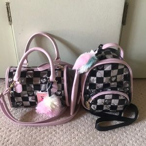 New Pink Betsey Johnson Clear Checkered Bag Set
